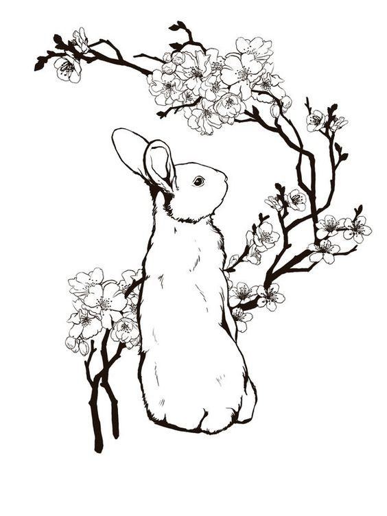 white rabbit and cherry blossom tree tattoo design. Black Bedroom Furniture Sets. Home Design Ideas