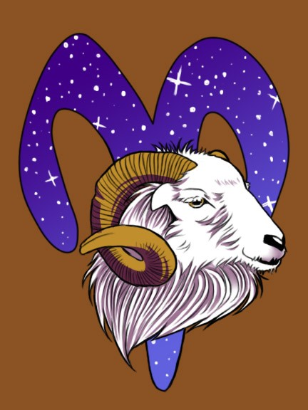 White ram with brown horns on starred horoscop symbol background tattoo design