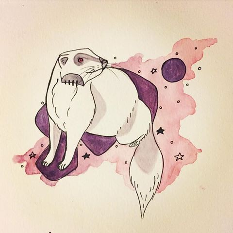 White rodent on pink-and-purple background tattoo design