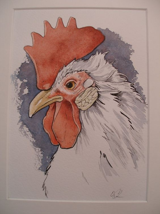 White rooster with red topknot on blue background tattoo design