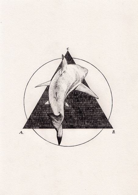 White shark jumping on triangle and circle background tattoo design