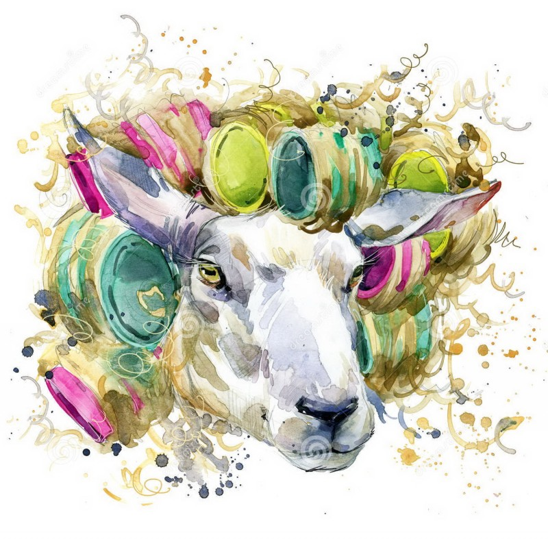 White sheep with colorful hair-curlers tattoo design2