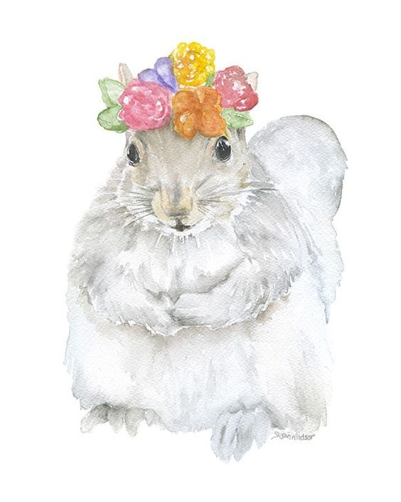 White watercolor squirrel in colored flowered wreath tattoo design