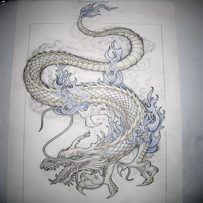 White winter dragon covered with blue flame tattoo design