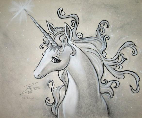 White winter unicorn with sharp shining horn tattoo design