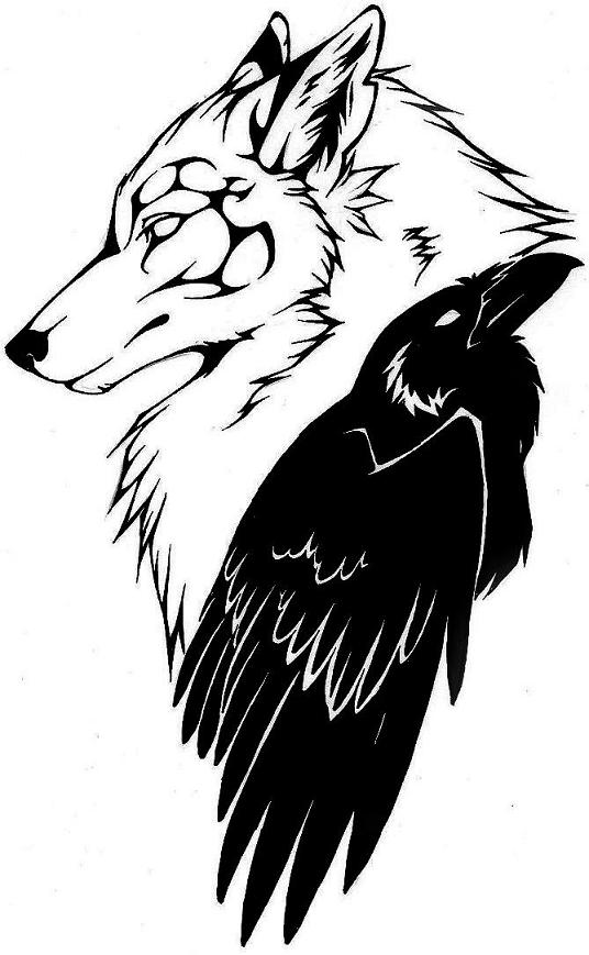 White wolf and black raven friendship tattoo design by Raven Silver Claw