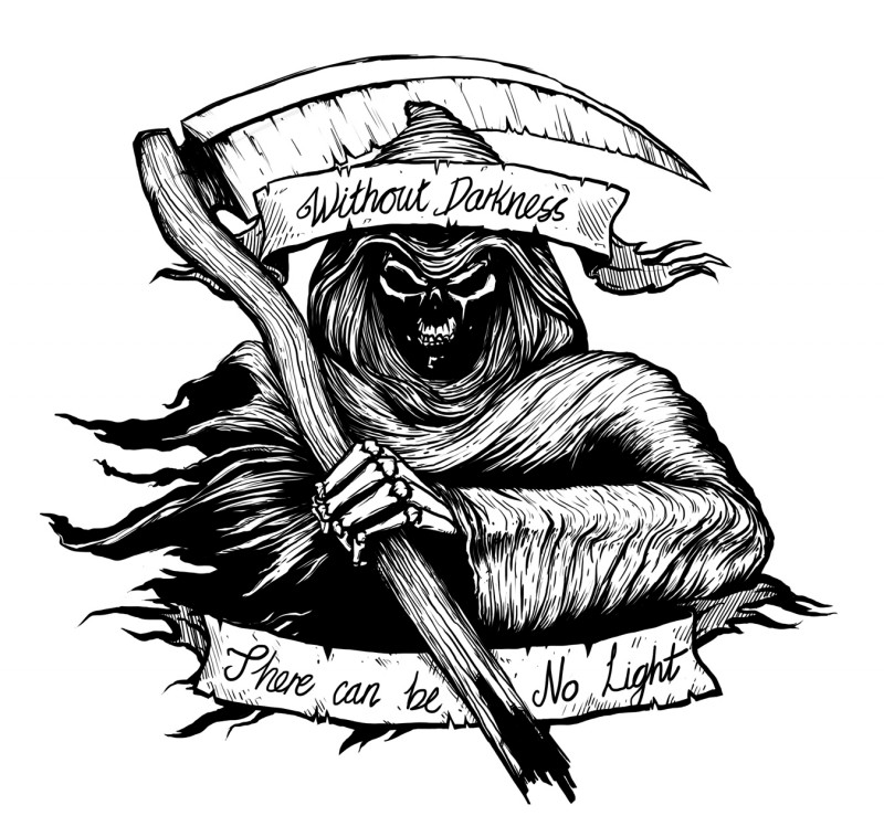 Wicked black-ink death with a scythe and two banners tattoo design