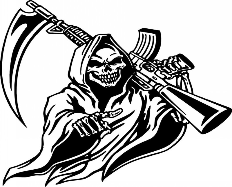 Wicked black death with a scythe automaton tattoo design