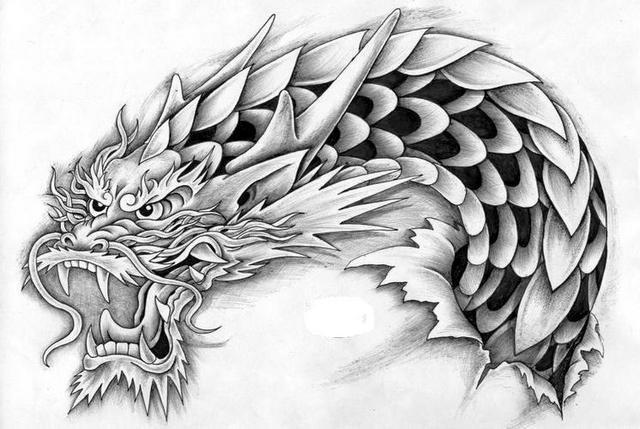 Wicked grey-ink oriental dragon portrait tattoo design