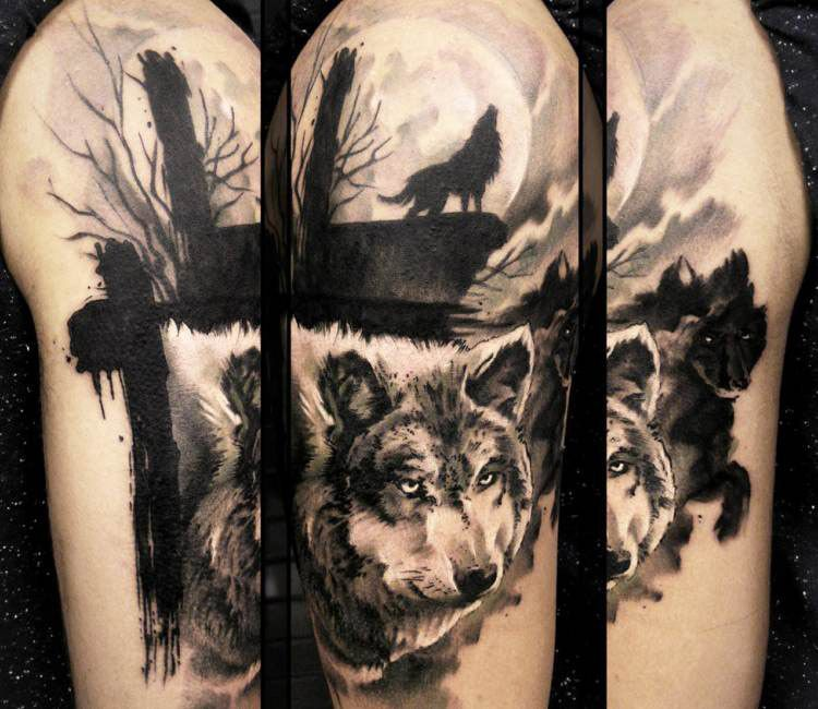 Wild dark wolf tattoo for men by Uncl Paul Knows