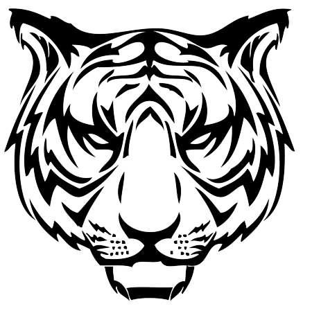 Wild outline tiger muzzle tattoo design