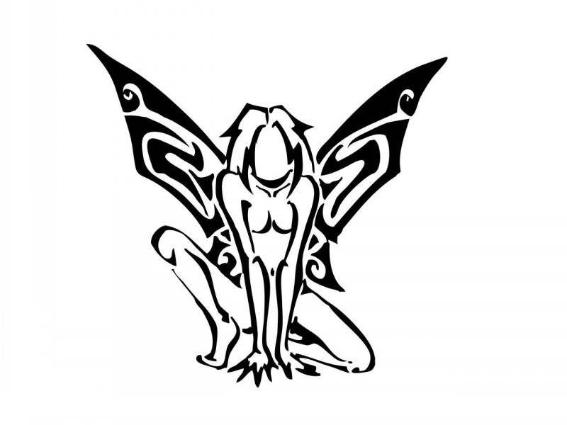 Wild tribal fairy sitting in savage pose tattoo design