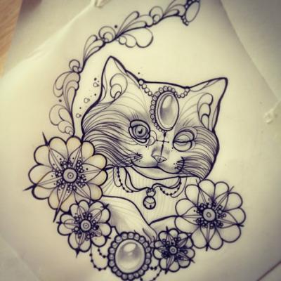 Winking Gem Decorated Cat Portrait In Flowered Frame