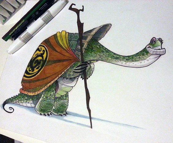 Wise animated colorful reptile in coat with wooden stick tattoo design
