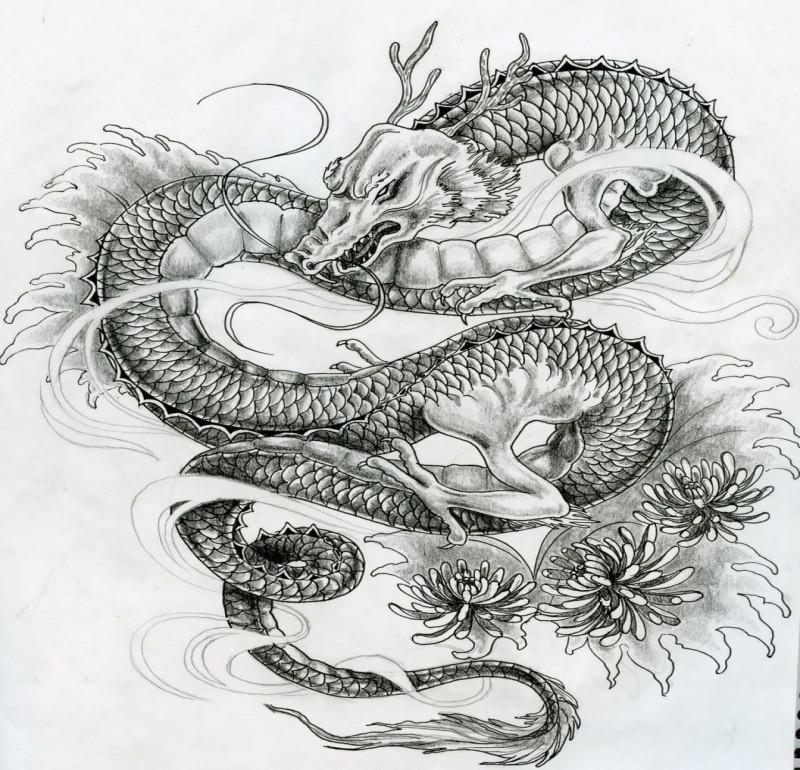 Wise grey asian dragon and small peonies tattoo design