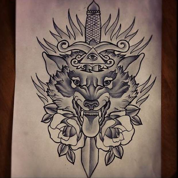 Wolf head with illuminati pierced with a dagger tattoo design