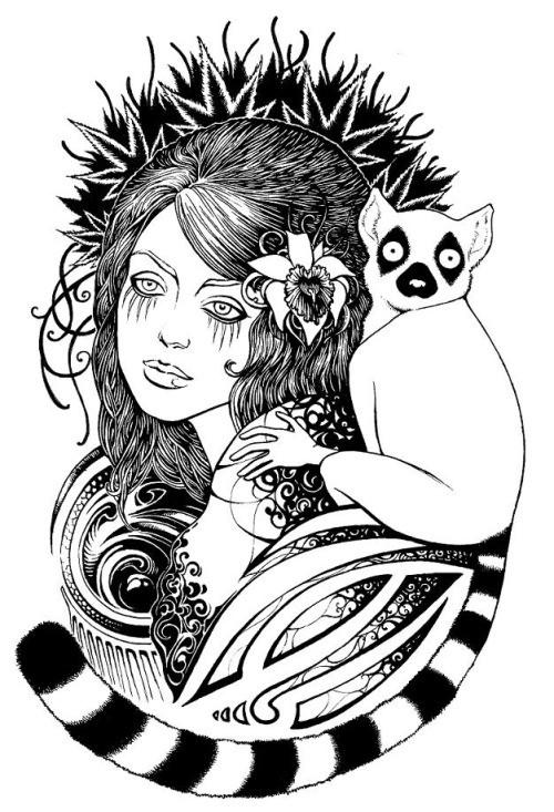 Wondeful black-and-white pretty girl and lemur tattoo design