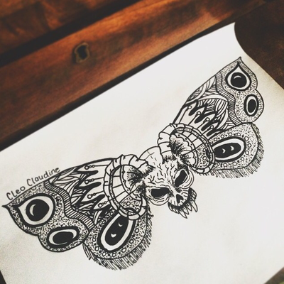 Wondeful grey-pencil moth and ram skull tattoo design by Cliskidoodles