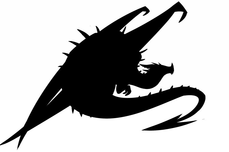 Wonderful big sitting dragon silhouette tattoo design