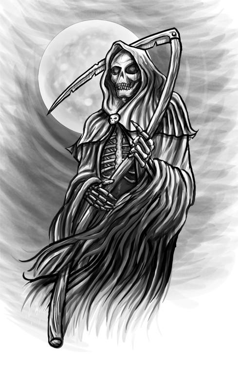 Wonderful black-and-grey death on full moon background tattoo design