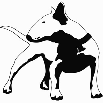 Wonderful black-and-white bull terrier dog looking left tattoo design