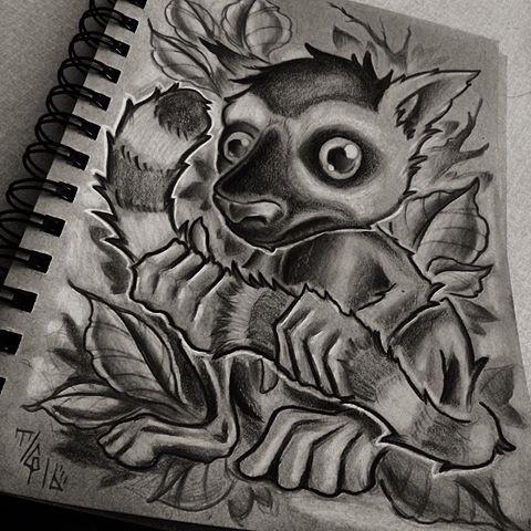 Wonderful black-and-white cartoon lemur keeping its tail on leaf background tattoo design