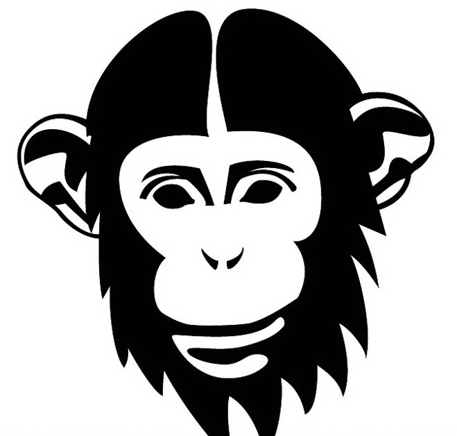 Wonderful black-ink bearded chimpanzee face tattoo design