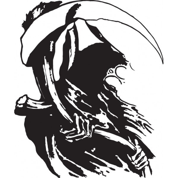 Wonderful black-ink death portrait with a scythe tattoo design