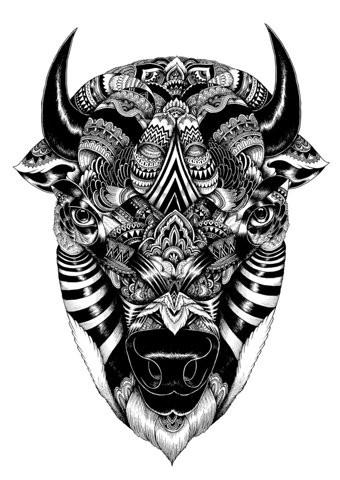 Wonderful black-ink decorated bull head tattoo design