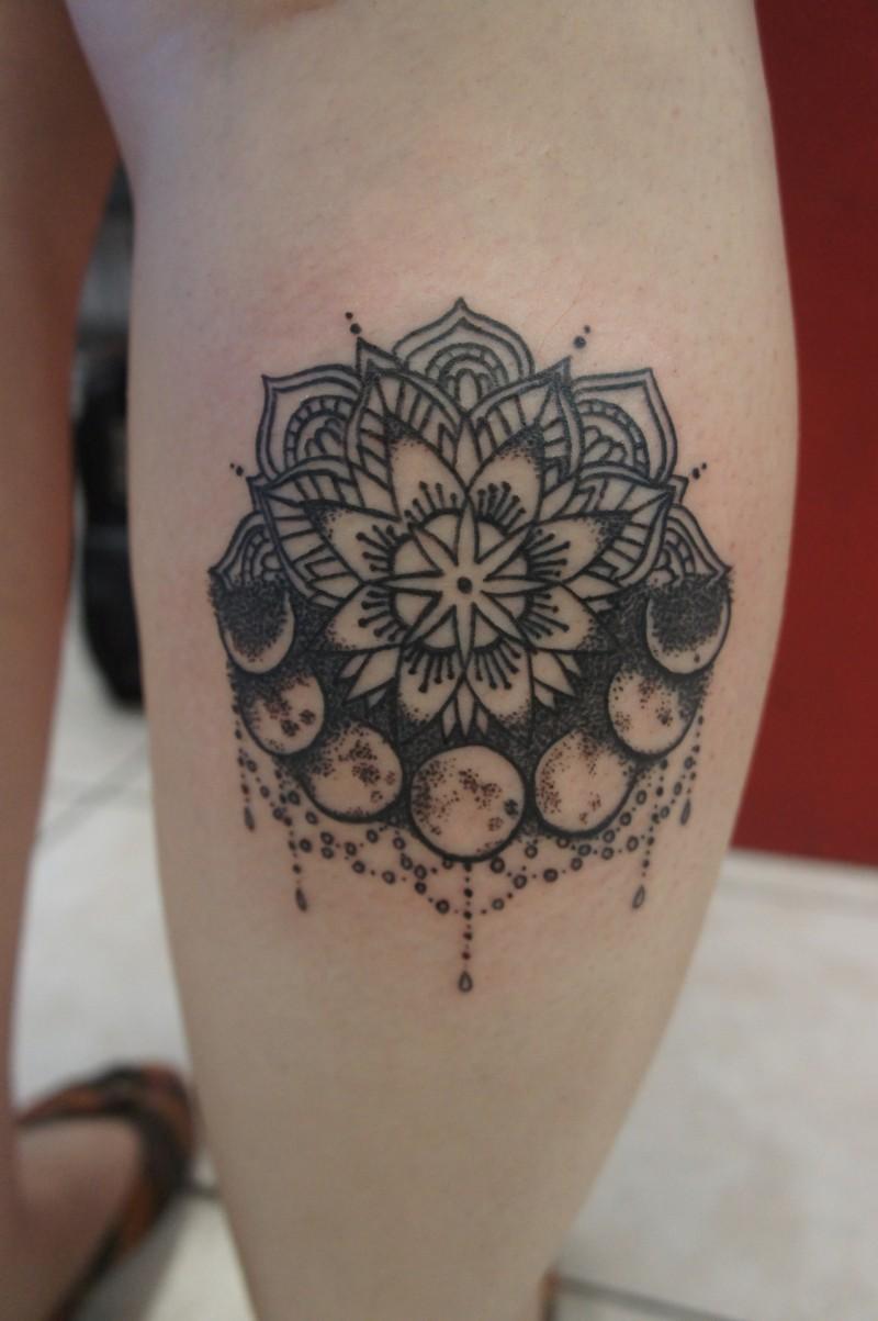 Wonderful black ink mandala flower with moon tattoo on for Black moon tattoo