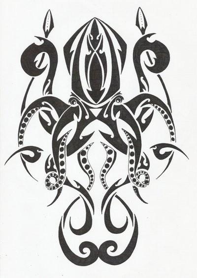 Wonderful black-ink tribal water animal tattoo design by Denierim