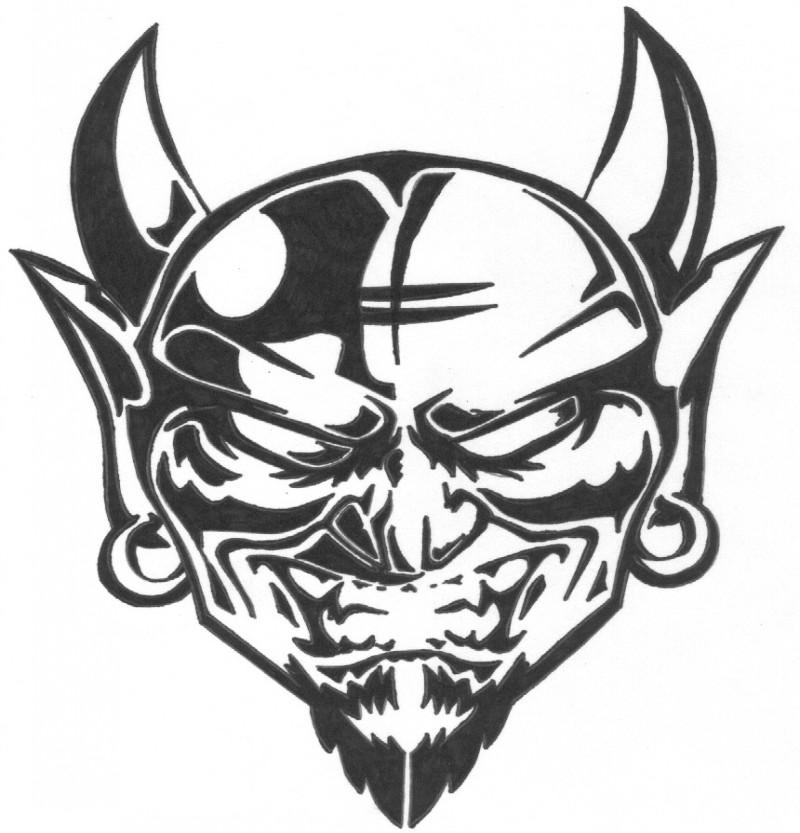 Wonderful black-line demon face tattoo design by Dementedink