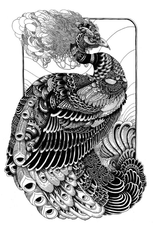 Wonderful black fluffy-headed peacock tattoo design
