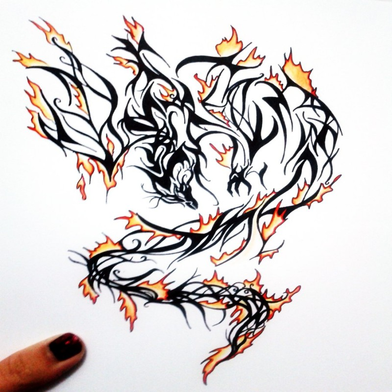 Wonderful black tribal phoenix covered with orange fire tattoo design by Melodic Interval