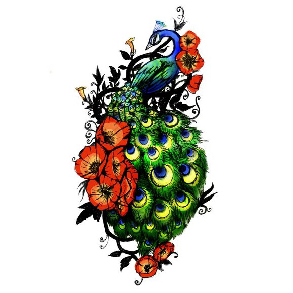 Wonderful blue-and-green peacock decorated with red poppy buds tattoo design
