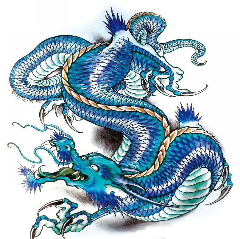 Wonderful blue-color ice dragon tattoo design
