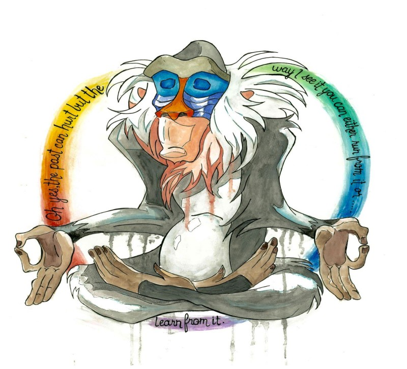 Wonderful bright watercolor meditating baboon in rainbow circle tattoo design