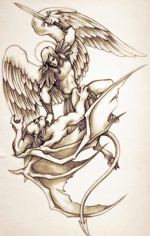 Wonderful brown-ink armoured angel killing a demon tattoo design