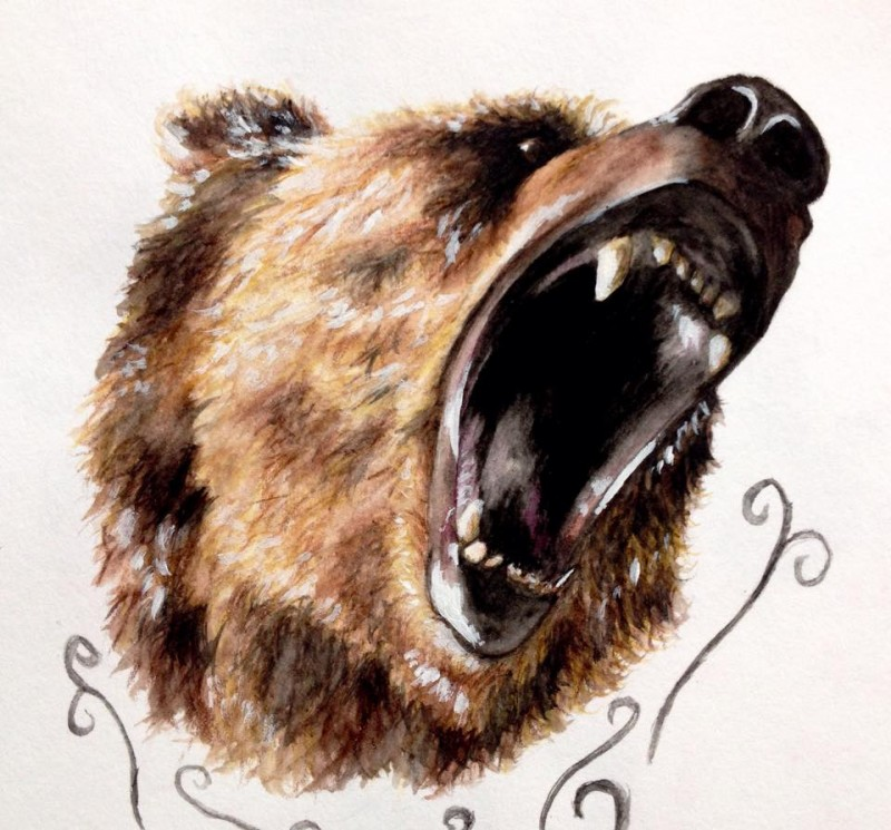 Wonderful brown sreaming grizzly head tattoo design