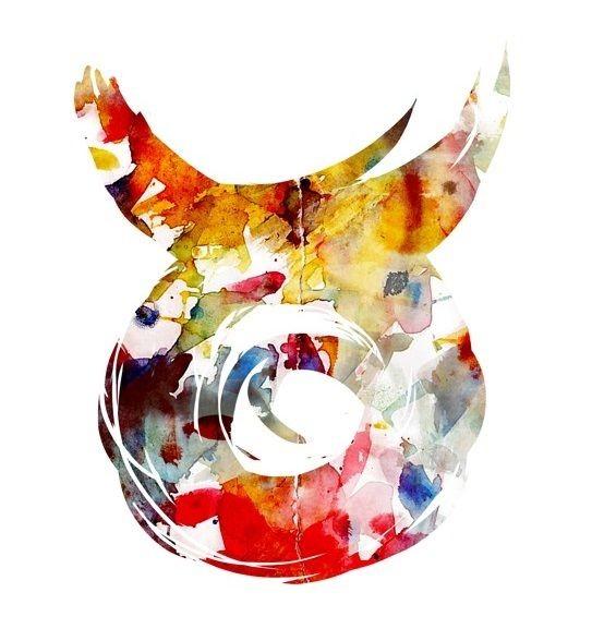 Wonderful colored bull zodiac sign tattoo design