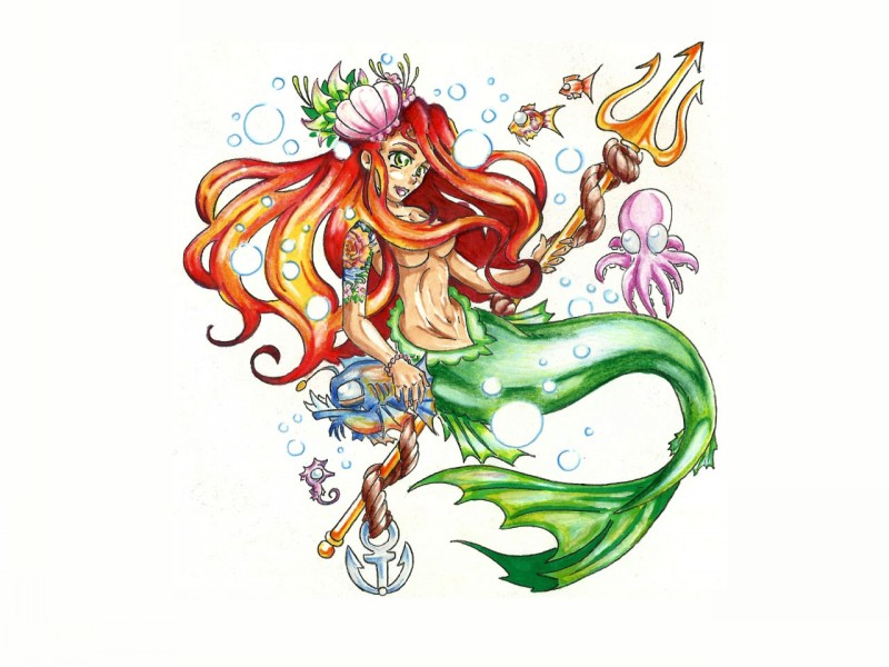 Wonderful colorful cartoon mermaid with trident tattoo design
