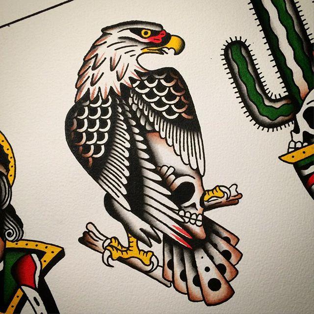 Wonderful colorful old school eagle tattoo design ...