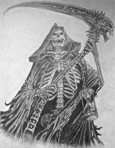 Wonderful death skeleton with a big heavy scythe tattoo design