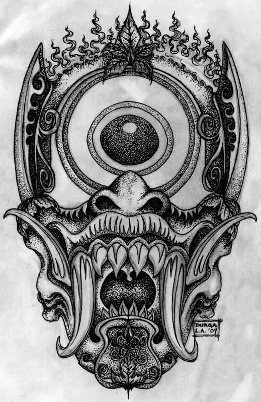Wonderful dotwork japanese demon with a huge eye on the forehead tattoo design