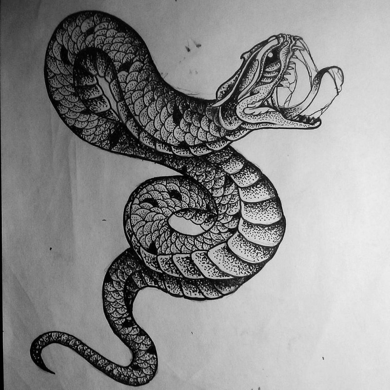 wonderful dotwork snake tattoo design. Black Bedroom Furniture Sets. Home Design Ideas