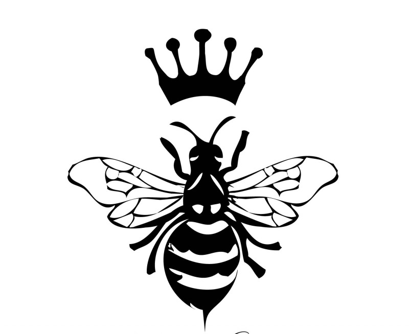 Wonderful full-black queen bee and imperial crown tattoo design