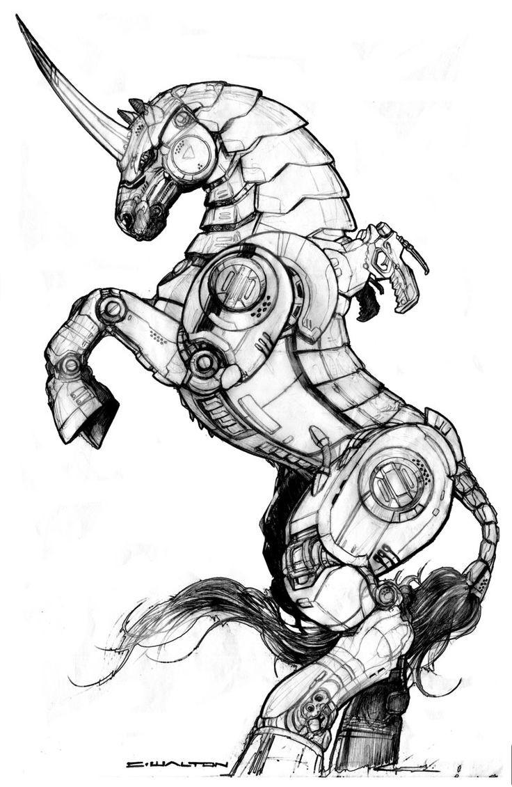 Wonderful grey-ink biomechanical unicorn standing on hindquarters tattoo design