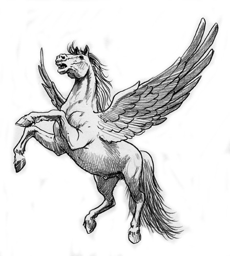 Wonderful grey-ink jamping pegasus tattoo design