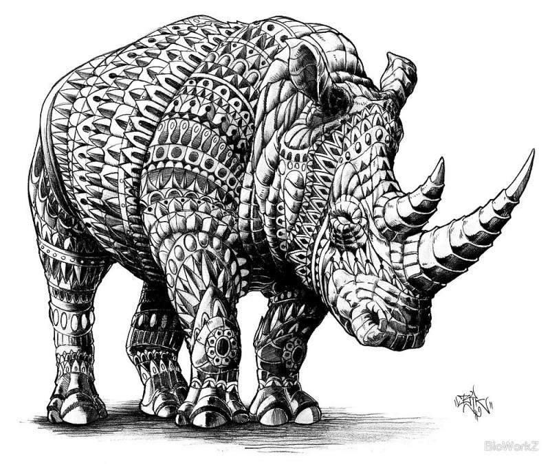 Wonderful grey-ink rhino with decorated scale tattoo design