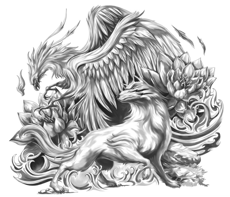 Wonderful grey-ink wolf and phoenix aong flowers tattoo design